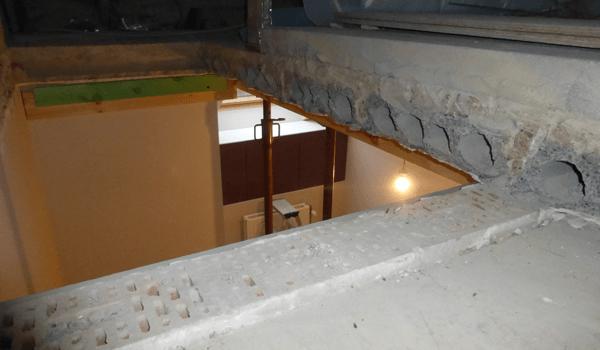 Trapopening in betonvloer maken