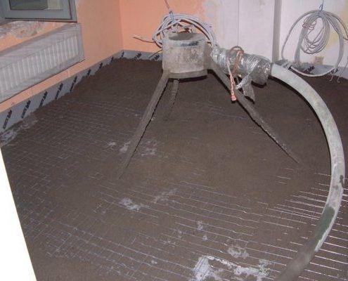Akoestisch geïsoleerde vloer met vloerverwarming