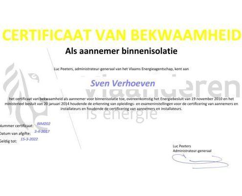 Certificaat aannemer binnenisolatie