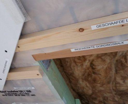Doorsnede dakopbouw met isolatie