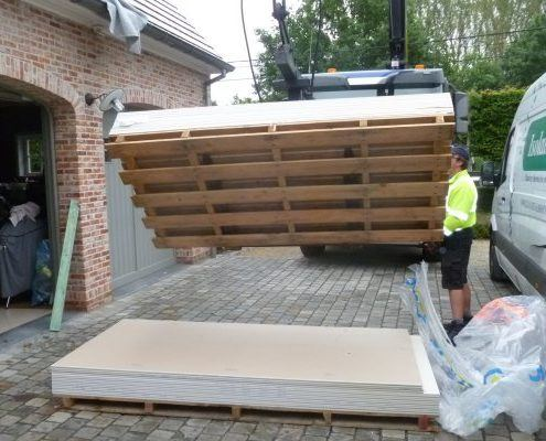 Levering gyproc met pallethaak