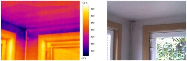 Thermografische foto van een gevel met ramen